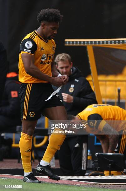Adama Traore of Wolverhampton Wanderers leaves the match with an injury during the Premier League match between Wolverhampton Wanderers and...
