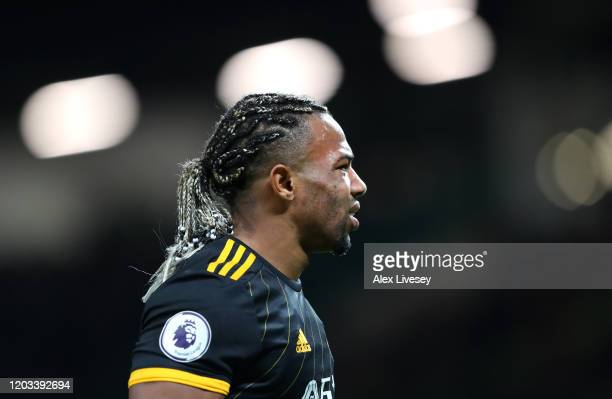 Adama Traore of Wolverhampton Wanderers looks on during the Premier League match between Manchester United and Wolverhampton Wanderers at Old...