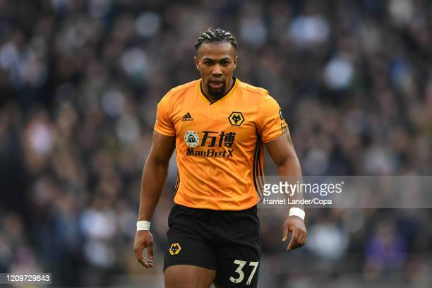 Adama Traore of Wolverhampton Wanderers looks on during the Premier League match between Tottenham Hotspur and Wolverhampton Wanderers at Tottenham...