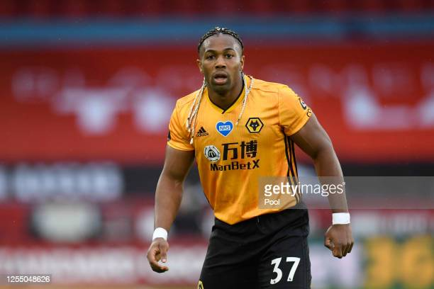 Adama Traore of Wolverhampton Wanderers looks on during the Premier League match between Sheffield United and Wolverhampton Wanderers at Bramall Lane...