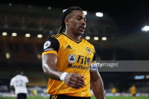 Adama Traore of Wolverhampton Wanderers looks on during the Premier League match between Wolverhampton Wanderers and Manchester City at Molineux on...