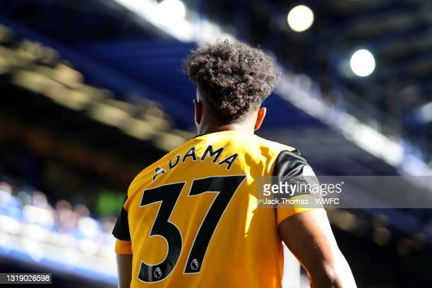 Adama Traore of Wolverhampton Wanderers looks on during the Premier League match between Everton and Wolverhampton Wanderers at Goodison Park on May...