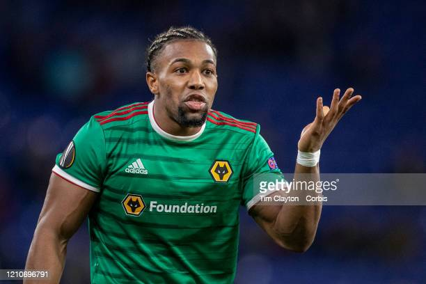 February 27: Adama Traore of Wolverhampton Wanderers reacts after receiving a yellow card during the Espanyol V Wolverhampton Wanderers, UEFA Europa...