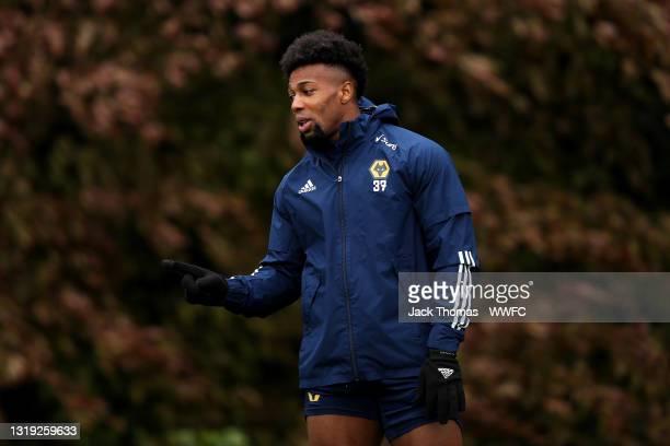 Adama Traore of Wolverhampton Wanderers reacts during a Wolverhampton Wanderers Training Session at Sir Jack Hayward Training Ground on May 21, 2021...