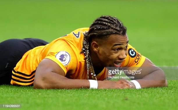 Adama Traore of Wolverhampton Wanderers reacts during the Premier League match between Wolverhampton Wanderers and Tottenham Hotspur at Molineux on...