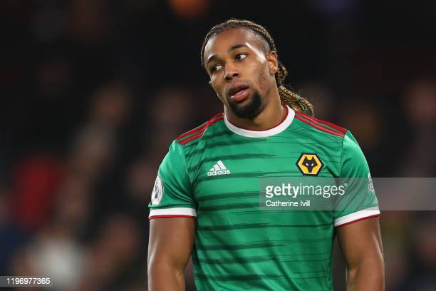Adama Traore of Wolverhampton Wanderers reacts during the Premier League match between Watford FC and Wolverhampton Wanderers at Vicarage Road on...