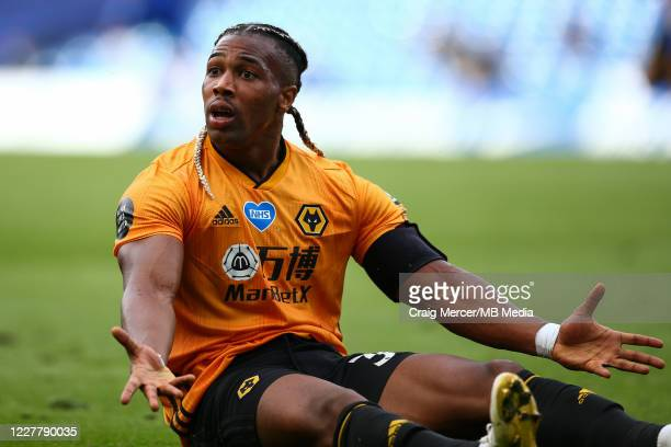 Adama Traore of Wolverhampton Wanderers reacts during the Premier League match between Chelsea FC and Wolverhampton Wanderers at Stamford Bridge on...