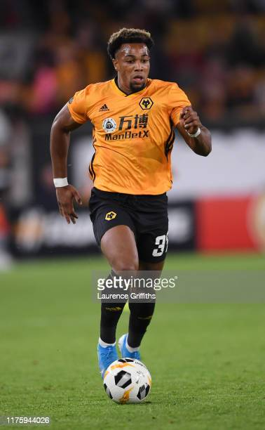 Adama Traore of Wolverhampton Wanderers runs with the ball during the UEFA Europa League group K match between Wolverhampton Wanderers and Sporting...