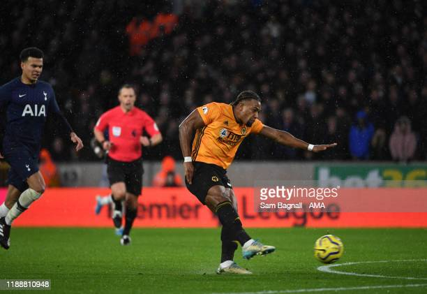 Adama Traore of Wolverhampton Wanderers scores a goal to make it 1-1 during the Premier League match between Wolverhampton Wanderers and Tottenham...