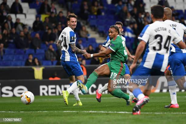 Adama Traore of Wolverhampton Wanderers scores his team's first goal during the UEFA Europa League round of 32 second leg match between Espanyol...