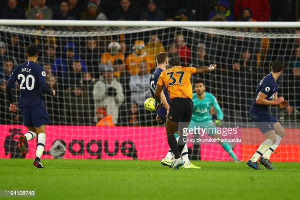 Adama Traore of Wolverhampton Wanderers scores the equaliser during the Premier League match between Wolverhampton Wanderers and Tottenham Hotspur at...