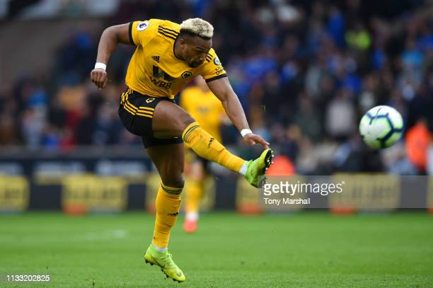 Adama Traore of Wolverhampton Wanderers shoots during the Premier League match between Wolverhampton Wanderers and Cardiff City at Molineux on March...