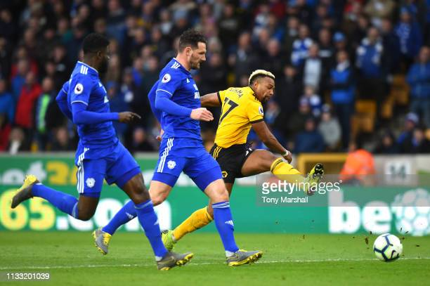 Adama Traore of Wolverhampton Wanderers shoots on goal during the Premier League match between Wolverhampton Wanderers and Cardiff City at Molineux...