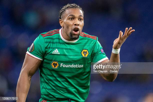 February 27: Adama Traore of Wolverhampton Wanderers treats after receiving a yellow card during the Espanyol V Wolverhampton Wanderers, UEFA Europa...