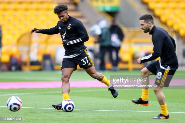 Adama Traore of Wolverhampton Wanderers warms up prior to the Premier League match between Wolverhampton Wanderers and Manchester United at Molineux...