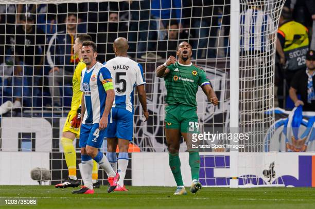 Adama Traore of Wolves celebrates his goal during the UEFA Europa League round of 32 second leg match between Espanyol Barcelona and Wolverhampton...