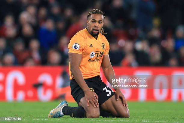 Adama Traore of Wolves looks dejected during the Premier League match between Liverpool FC and Wolverhampton Wanderers at Anfield on December 29 2019...