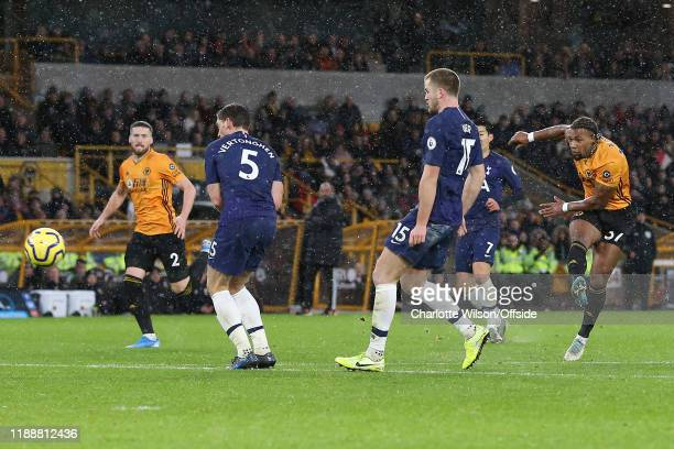 Adama Traore of Wolves scores their 1st goal during the Premier League match between Wolverhampton Wanderers and Tottenham Hotspur at Molineux on...