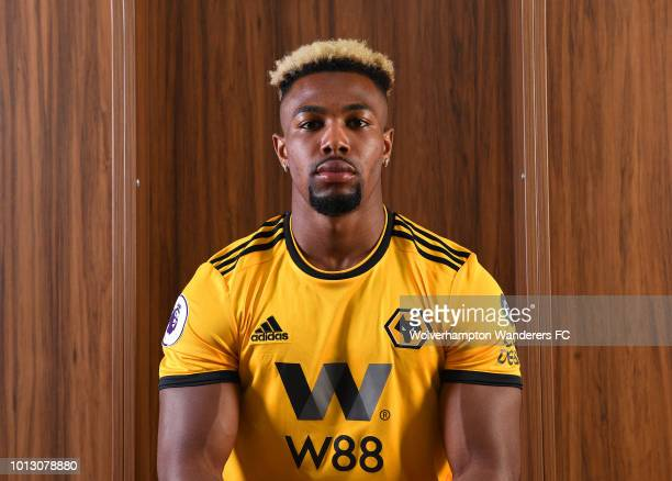 Adama Traore poses during a portrait session as he is unveiled as a new signing for Wolverhampton Wanderers at Molineux on August 7 2018 in...