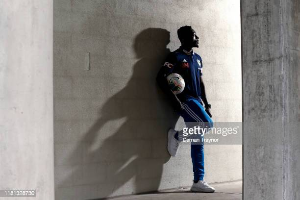 Adama Traore poses for a photo after a Melbourne Victory ALeague media opportunity at Melbourne Victory HQ on October 16 2019 in Melbourne Australia