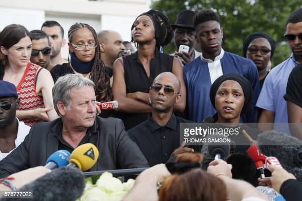 Adama Traore's sister Assa flanked by relatives and their lawyer Frederic Zajac gives a press conference prior to a white march organised in tribute...