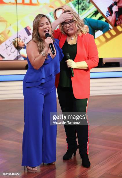 Adamari Lopez and Ednita Nazario are seen on set of Un Nuevo Dia as they celebrate Adamari Lopez 40 Year Career on September 7 2018 in Doral Florida