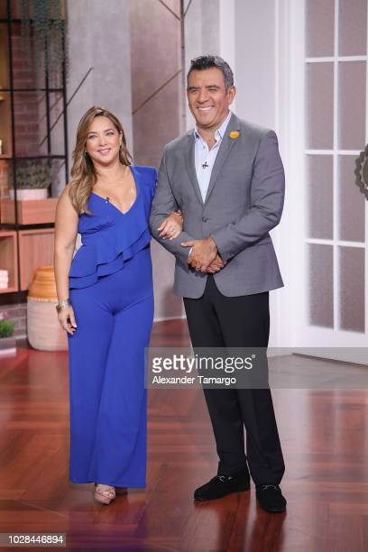 Adamari Lopez and Hector Sandarti are seen on set of Un Nuevo Dia as they celebrate Adamari Lopez 40 Year Career on September 7 2018 in Doral Florida