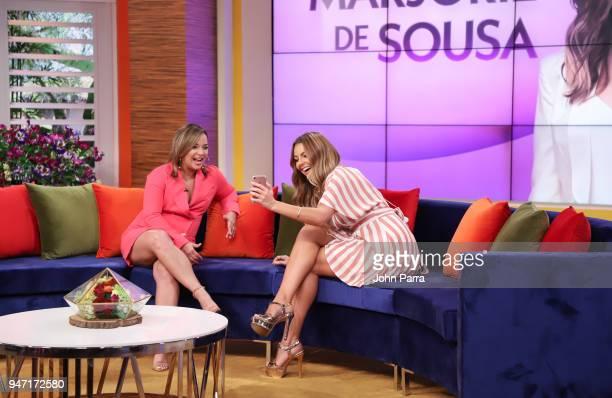 Adamari Lopez and Marjorie De Sousa are seen at Telemundo's Un Nuevo Dia on April 16 2018 in Miami Florida