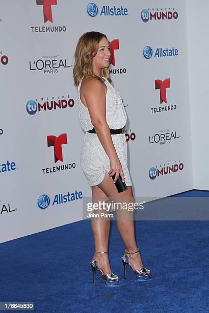 Adamari Lopez arrives at Telemundo's Premios Tu Mundo Awards at American Airlines Arena on August 15 2013 in Miami Florida