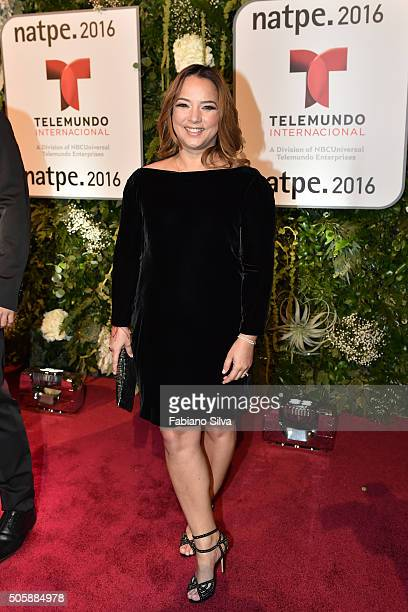 Adamari Lopez attends Telemundo NATPE party on January 19 2016 in Miami Beach Florida