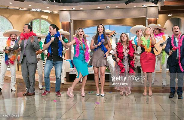 Adamari Lopez Daniel Sacros Ana Maria Canseco Diego Schoening and Aylin Mujica dance during her return of Adamari Lopez to the set of Un Nuevo Dia at...