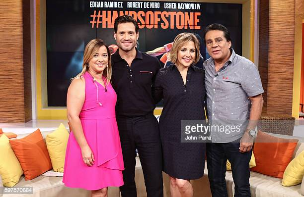 Adamari Lopez Edgar Ramirez Ana Maria Canseco and Roberto Duran on The Set Of Telemundo's 'Un Nuevo Dia' to promote 'Hands Of Stone' at Telemundo...