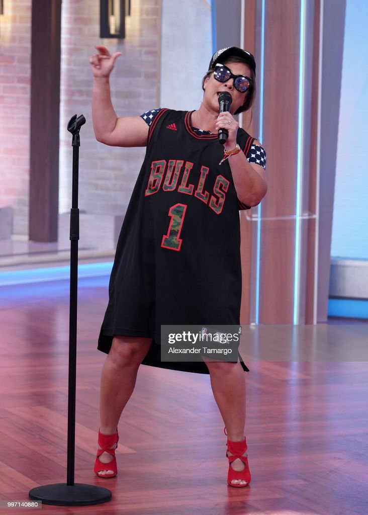 Adamari Lopez is seen on the set of 'Un Nuevo Dia' at Telemundo Center to promote the show 'La Voz' on July 12, 2018 in Miami, Florida.