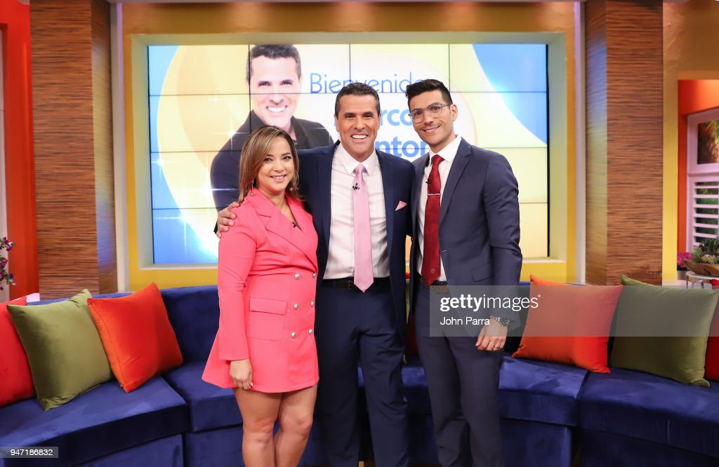 Adamari Lopez, Marco Antonio Regil and Mauricio Gonzalez M.D. are seen at Telemundo's 'Un Nuevo Dia' on April 16, 2018 in Miami, Florida.