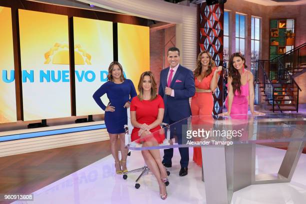 Adamari Lopez Paulina Sodi Marco Antonio Regil Rashel Diaz and Zuleyka Rivera on the new set of 'Un Nuevo Dia' at Telemundo Center on May 21 2018 in...