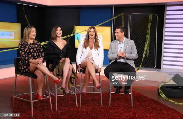 Adamari Lopez Roselyn Sanchez Rashel Diaz and Marco Antonio Regil are seen on set at Telemundo's Un Nuevo Dia on April 18 2018 in Miami Florida