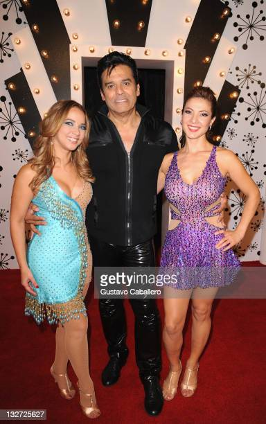 Adamari LopezErick Estrada and Priscilla Angel attend Univisions Mira Quien Baila Semifinal at Greenwich Studios on November 13 2011 in Miami Florida