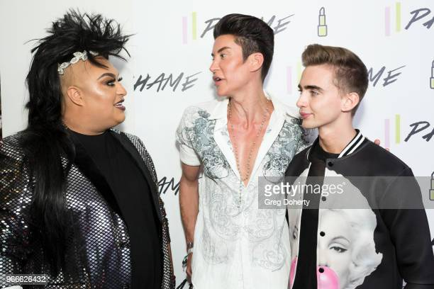 Adamme The Beauty Warrior interviews Justin Jedlica AKA The Human Ken Doll' and Tyler Dyvig at the PHAME Expo 2018 on June 2 2018 in Los Angeles...