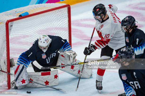 Adamo Fantilli of Canada tries to score against Goalkeeper Dylan Silverstein of United States during Men's 6Team Tournament Semifinals Game between...