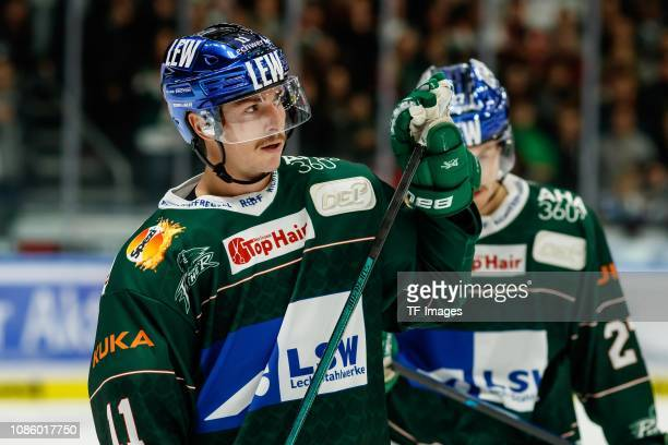 AdamPayerl of Augsburger Panther looks on during the DEL match between Augsburger Panther and Grizzlys Wolfsburg at CurtFrenzelStadion on November...