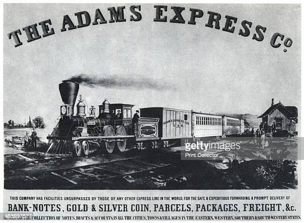 Adams Express Company advertisement c1860s A train typical of the period when the the Reno Brothers outlaw gang operated in the Midwest just after...