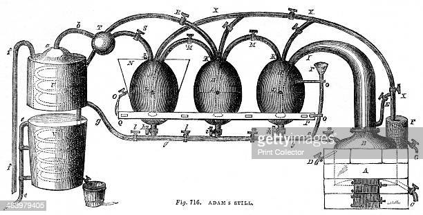 Adam's still 1886 Illustration from Cyclopaedia of Useful Arts Mechanical and Chemical Manufactures Mining and Engineering by Charles Tomlinson...