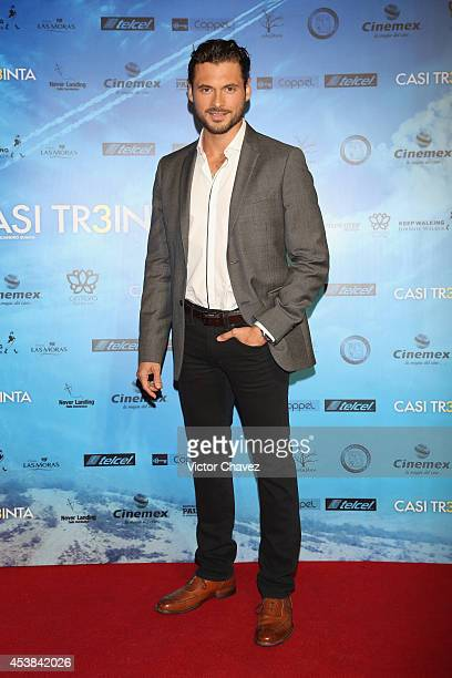 Adan Canto attends 'Casi Treinta' Mexico City premiere red carpet at Cinemex Antara Polanco on August 19 2014 in Mexico City Mexico