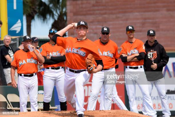 Adan Conley seen at warm up pitch Miami Marlins played St Louis Cardinals on 6th and fthe final score was 44