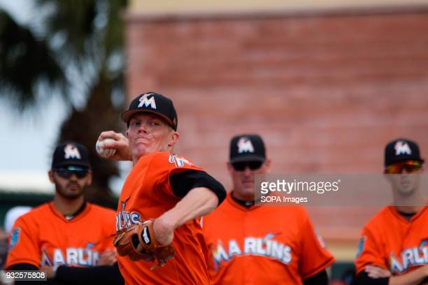Adan Conley seen in warmup session to open the game against the St Louis Cardinals in the Spring Training Miami Marlins played St Louis Cardinals on...