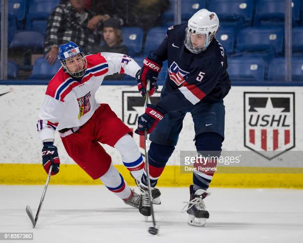 Adan Samuelsson of the USA Hockey Nationals passes the puck in front of Vojtech Kropacek of the Czech Republic Nationals during the 2018 Under18 Five...