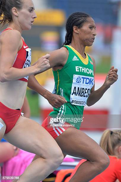 Adanech Anbesa from Ethiopia competes in women's 1500 metres during the IAAF World U20 Championships at the Zawisza Stadium on July 24 2016 in...