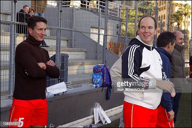 Adans Lopez Peres playing for the first time In the Monaco football team, Prince Albert of Monaco on January 19, 2004.