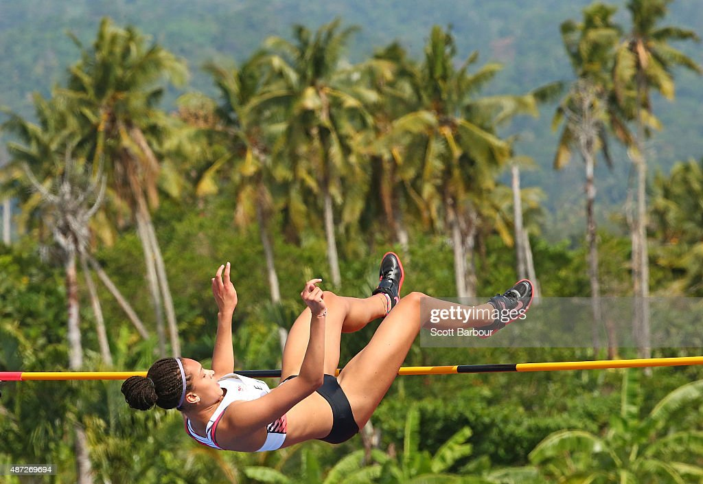 Ada'ora Chigbo of England jumps in the Girls High Jump during the Athletics at the Apia Park Sports Complex on day two of the Samoa 2015 Commonwealth Youth Games on September 8, 2015 in Apia, Samoa.