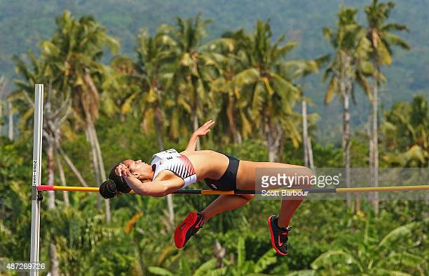Ada'ora Chigbo of England jumps in the Girls High Jump during the Athletics at the Apia Park Sports Complex on day two of the Samoa 2015 Commonwealth...